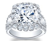Women's Platinum shared prong halo engagement ring with 5ct natural Cushion Brilliant White Sapphire Center 2.20 ctw G-VS diamonds