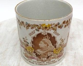 Rare Vintage Queen Victoria Diamond Jubilee Commemoraive Mug 1896