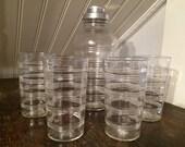 1930s Vintage 1940s Pressed Depression Glass Ringed Art Deco Martini Cocktail Set - Shaker & 4 Glasses
