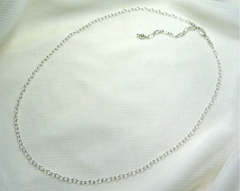Custom Pendant Chain - Sterling Silver - Lobster Claw Clasp, 2.7mm Cable Chain, Adjustable Custom Length