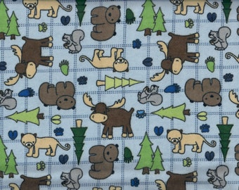 Forest flannel fabric - moose bear squirrel cougar in blue brown gray green - Alpine Fabrics - by the YARD