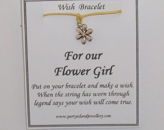 FLOWER GIRL Flower Charm Friendship Wish Bracelet with Message Card - Choose Colour - Wedding