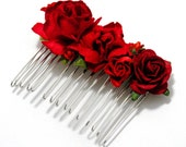 Red Rose Mixed Floral Ruby Vintage Style Flower Bridal Comb