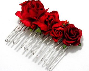 Red Rose Mixed Floral Hair Comb/ Ruby/ Vintage/ Traditional/ Bridal/ Wedding Hair Accessories/ Bridesmaid Hair Fascinator