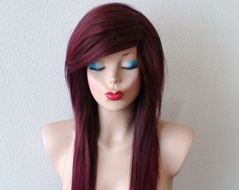 Scene wig. Emo wig.  Burgundy / red ombre wig. Long straight hairstyle wig. Durable heat resistant synthetic wig for daily use or Cosplay.