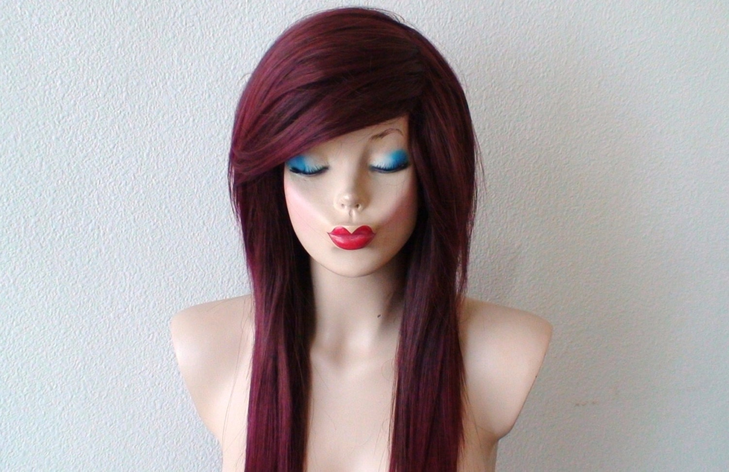 Scene wig. Emo wig. Burgundy \/ red ombre wig. Long straight