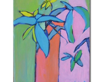 """SALE 50% off:  Pink and green abstract leaves floral painting Original abstract painting, fauvist 8"""" X 10"""" by  Garima Parakh"""