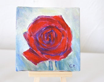 Rose painting Small flower art canvas acrylic painting on 4 X 4 inches