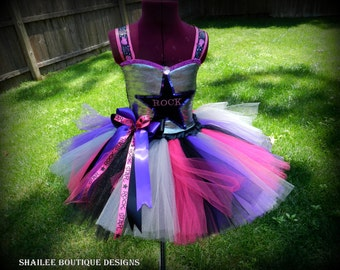 Halloween costume kid,Rockstar outfit Girl's tutu dress Rock star Tutu dress and ponytail Streamer set,dance party outfit,rockstar birthday