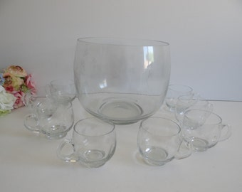 Lovely Clear Cut Glass Punch Bowl Set with 8 Punch Cups with a Stylized Flower Spray Cut Glass Design - Wedding Shower Reception Party