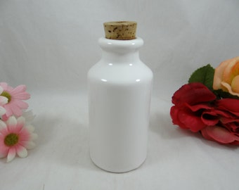 Vintage/Antique White Porcelain Apothecary Bottle with Cork Stopper