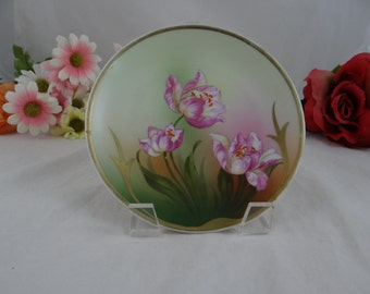1920s Vintage Paul Muller Turin Hand Painted Selb Bavarian Plate - Gorgeous Floral Pink Flower Plate