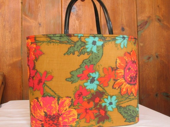 Vintage Knitting Bag : Vintage knitting bag retro shopping tote structured by