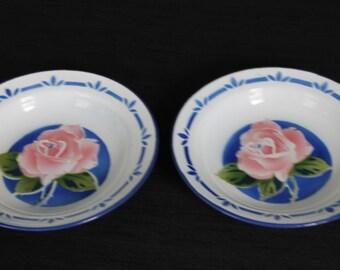 Pair White & Blue Enamelware Dish Bowls Pink Roses