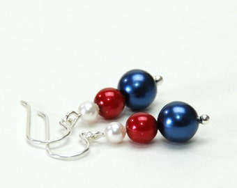 Red White and Blue Stacked Pearl Earrings - Handmade Red White and Blue Jewelry - 4th of July Jewelry