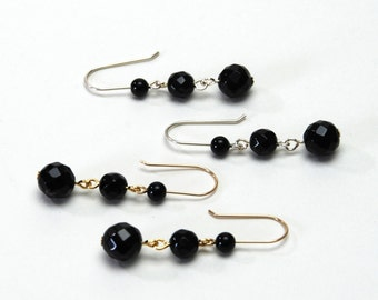 Three Tier Faceted Onyx Earrings - Black Gemstone and Sterling Silver or Gold Filled Earrings