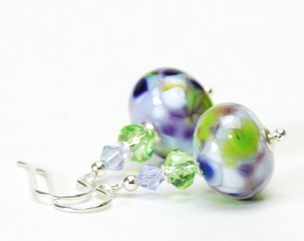 Lavender Purple and Green Lampwork Glass Earrings with Sterling Silver Earwires - Handmade Jewelry