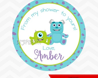 Monsters Inc Baby Shower Favor Tags