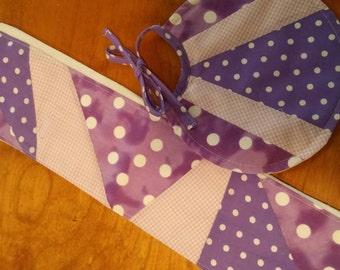Purple pieced Burp Cloth and Bib to match.