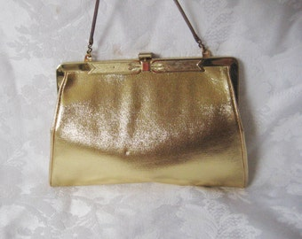 HL Gold lame clutch, gold bag purse, elegantformal evening bag, clutch with chain handle, New Years Eve, holiday clutch, Harry Levine