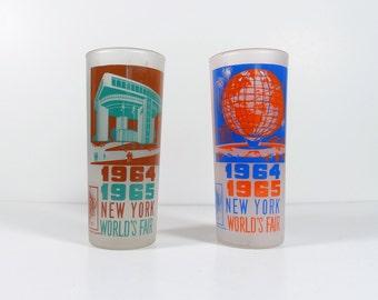 1964 - 1965 New York Worlds Fair Glasses - Set of Two