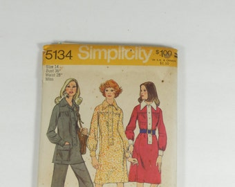 Simplicity 5134 - Vintage 1972 Dress or Tunic and Pants Pattern - Size 14