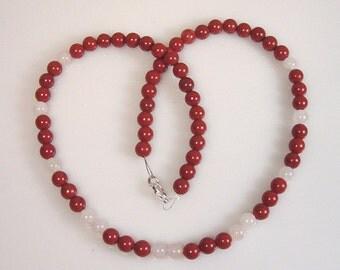 Red Jasper with Rose quartz Bead Necklace, Red Jasper Necklace with Rose Quartz beads, Red Jasper Bead Necklace with Rose Quartz