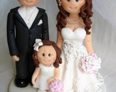 For Sandy - Bride and groom with flower girl wedding cake topper- Custom made bride and groom with children wedding cake topper