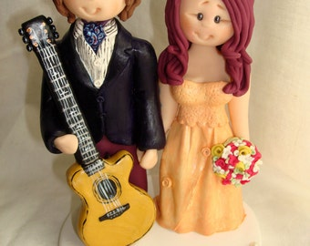 Customized Bride & Groom Guitar Player Wedding Cake Topper