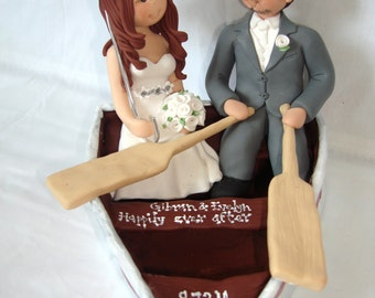 Bride and Groom on a boat wedding cake topper- Custom made bride and groom wedding cake topper