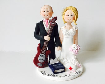 Customized Bride & Groom Guitar Player Engineer Groom and Nurse Bride Wedding Cake Topper - Music themed DJ wedding cake topper
