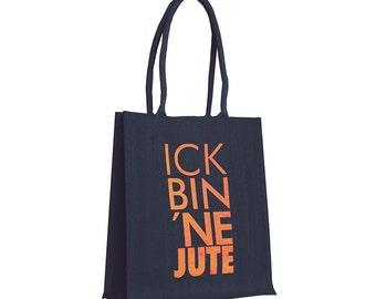 "Jute bag ""jute'm ick"" blue / neon"