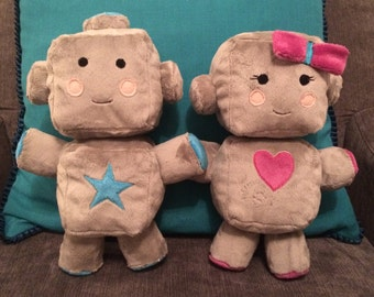 Pair of Robot plush soft toys - personalised