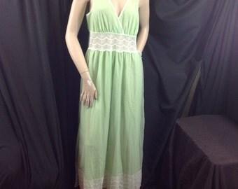 Vtg St Michael Nightgown V-neck Plunge Surplice Bodice Sheer Waterfall Train Lingerie Green Medium