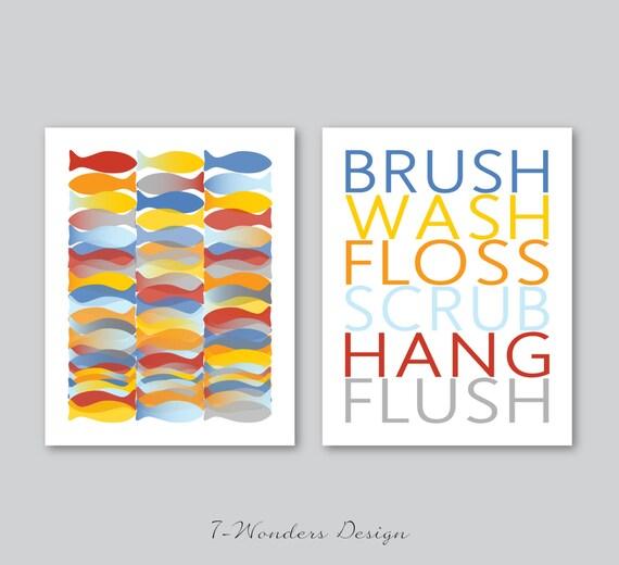Boys Girls Teens Kids Unisex Bathroom Art Prints Brush Wash