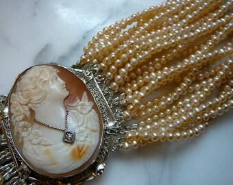 SOLD:Pearl and Cameo Bracelet, Cameo Bracelet, Cameo Jewelry, Cuff Bracelet, Pearl Bracelet, Bridal Bracelet, Wedding Bracelet