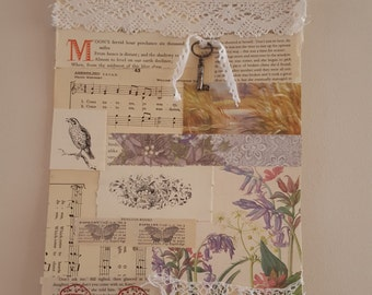 Collage wall hanging 'Paradise' using vintage papers hung from old needle OOAK