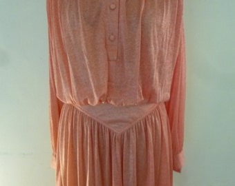 Mod Young Edwardian Dress by Arpeja Orange Slinky Poly Retro Chic Day Dress Long Sleeve Knee Length Size 6 1970's
