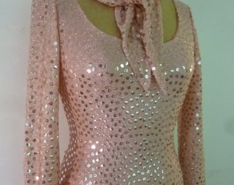 Vintage Mollie Parnis Boutique Maxi Dress Pink Sparkly Sequin Formal Prom Dress Matching Scarf Size S 1970's
