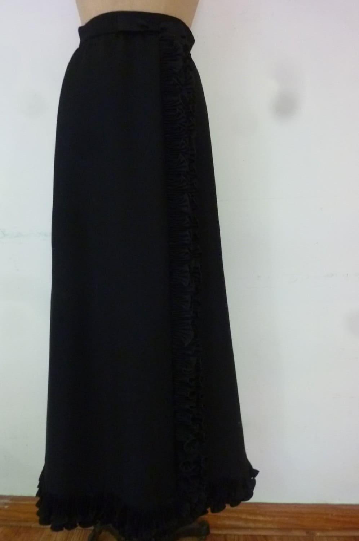 vintage skirt 1960 s formal black wool maxi black satin