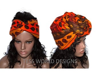 Extra long Ready made Scarf head wrap / Cowrie African Head wraps/ African supplies/ African Head scarf/ HT46
