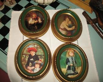 Frames set of 4 frames.  Illinois moulding girl with broom. Vintage
