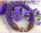 Bracelet Handmade Beaded Rope Bangle Amethyst Purple Lavender Copper