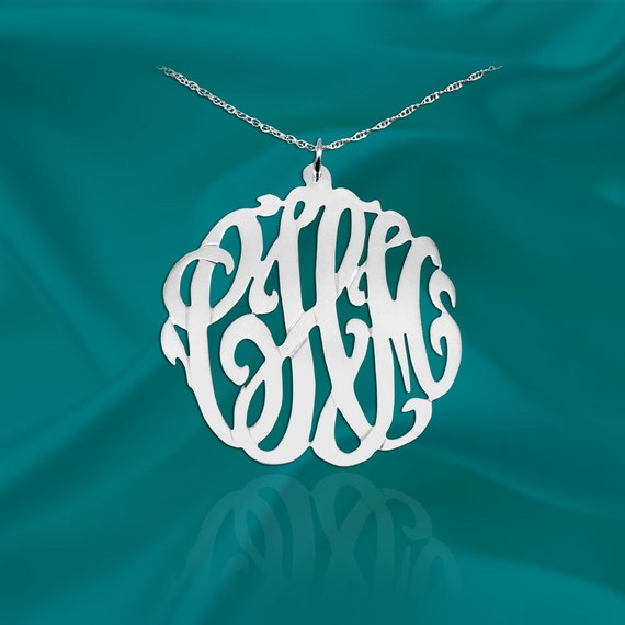Monogram Necklace -1.5 inch Sterling Silver Handcrafted Initial Necklace - Made in USA