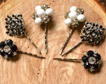 Handmade Black and White Hair Pin Set/ 1950's Jeweled Hair Pins