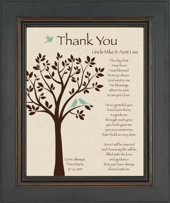 Thank You Quotes For Giving Gifts: Custom Aunt And Uncle Gift Gift From Bride On Wedding Day