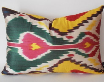 Silk İkat Pillow Cover, Decorative Pillow, Throw Pillow, Accent Pillow, Colorfull İkat Pillow