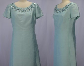 1960s Aqua Silk Dupioni Dress with Aquatic Themed Sequin & Rhinestone Embroidery