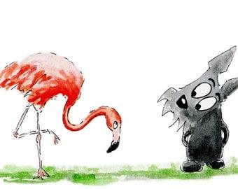 Scottie Dog 'Flamingo' Premium Lustre Art Print