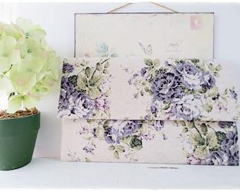 Bridesmaids large envelope clutch purple rose clutch wedding bridal evening purse